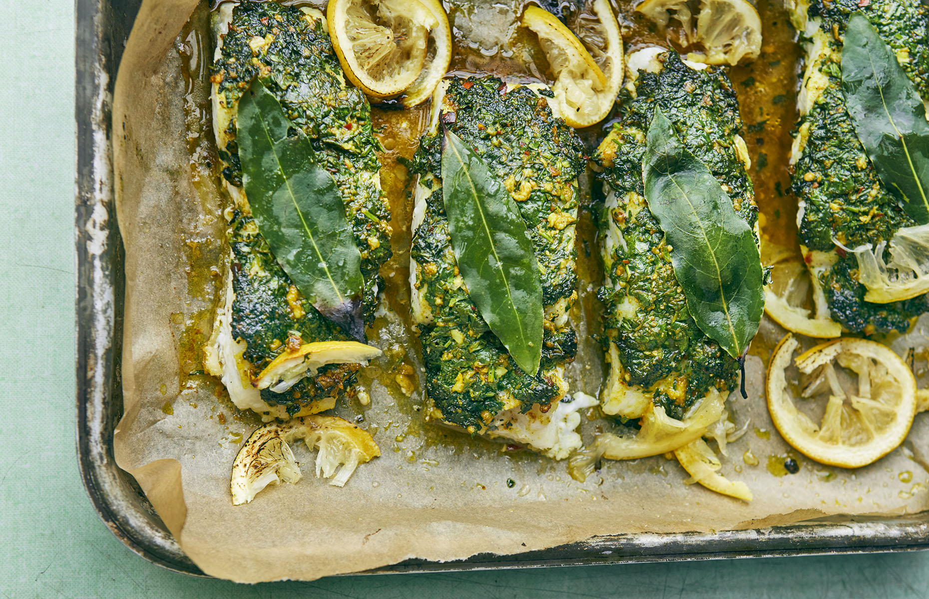 Roasted cod with a coriander crust (Image: FALASTIN/Ebury Press)
