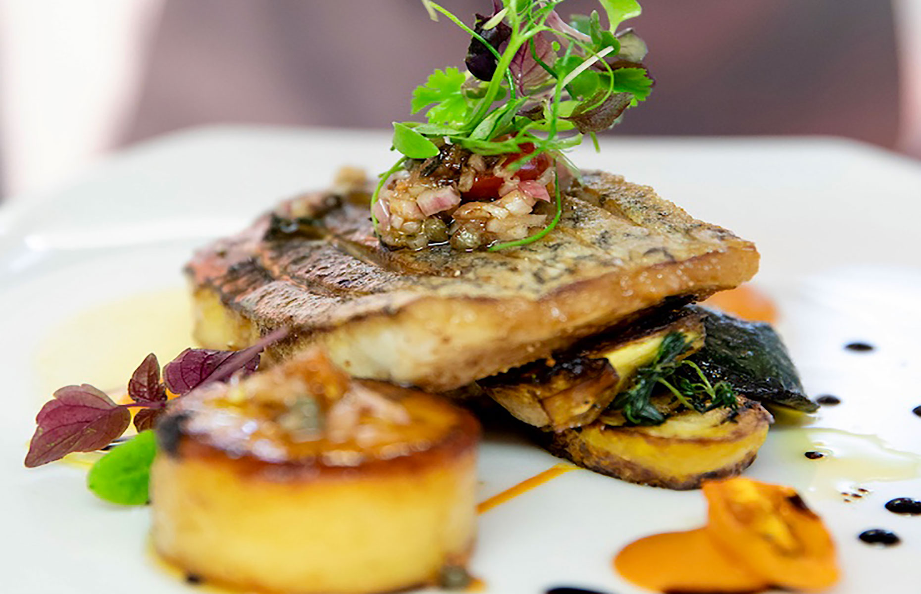 Fish dish at Burleigh Court (Image: Courtesy of Burleigh Court Photography)