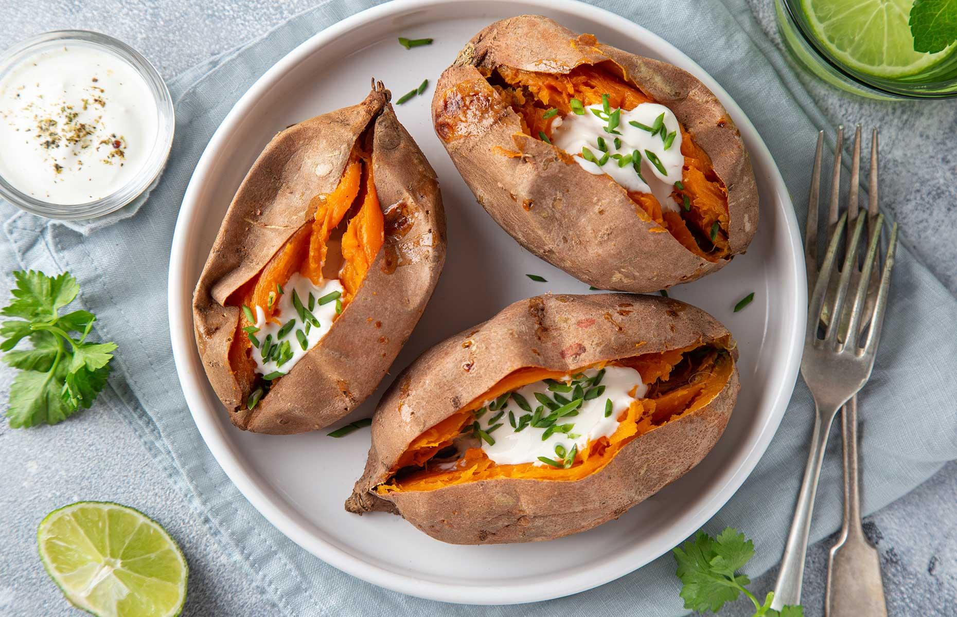 Baked sweet potato with yogurt (Image: Anna Shepulova/Shutterstock)