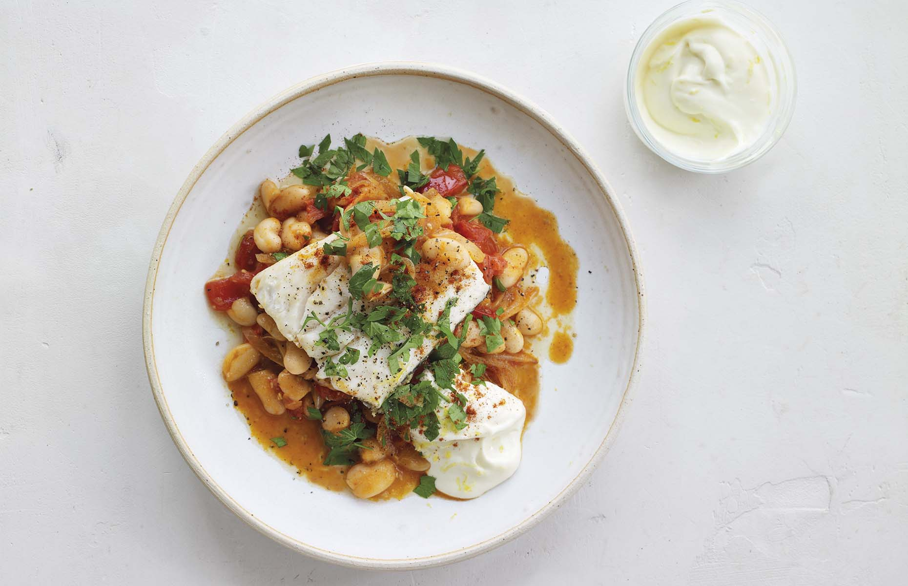 Hake and butter beans with lemon mayonnaise