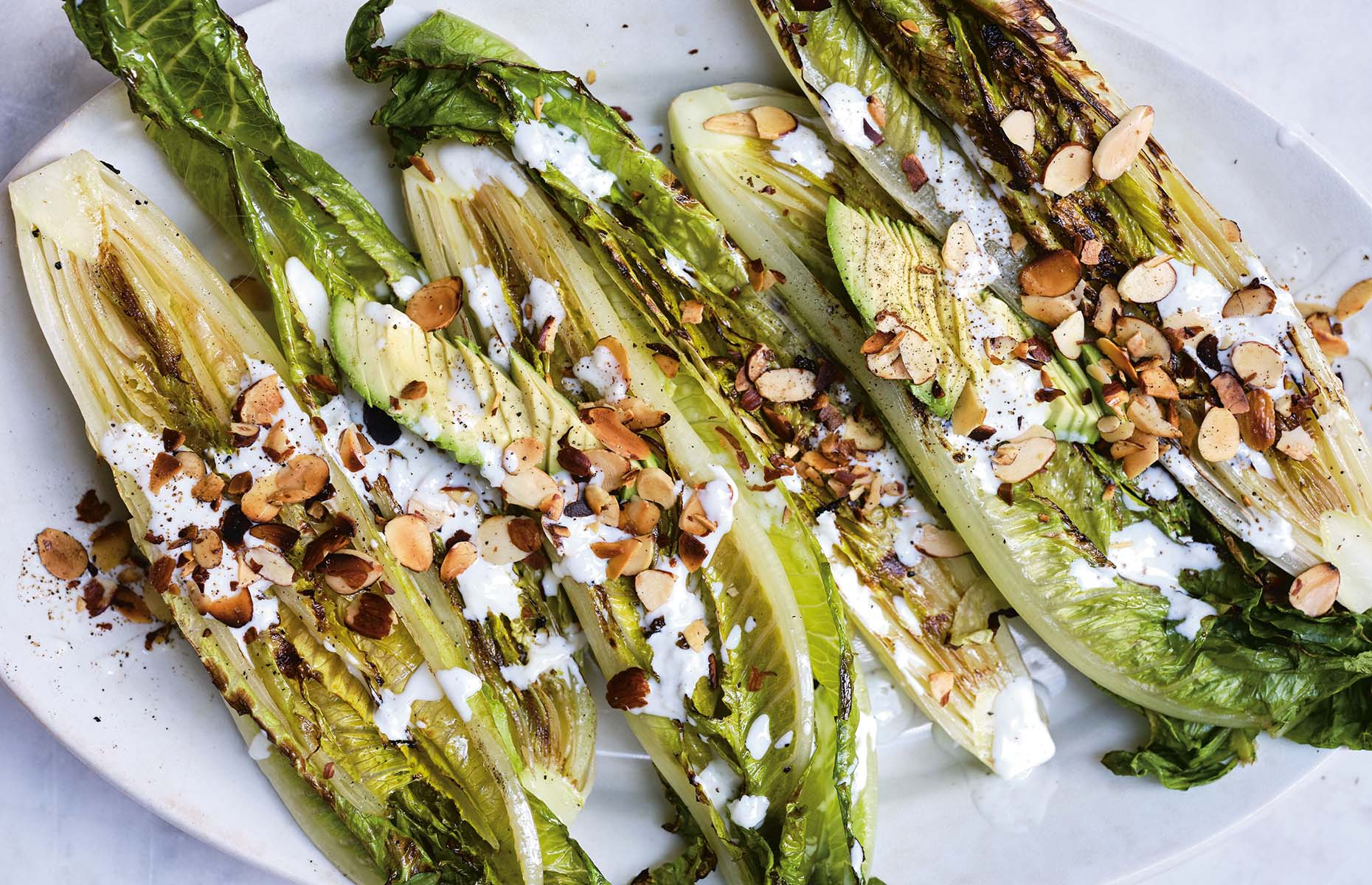Grilled lettuce with buttermilk dressing (Image: Super Natural Simple/Hardie Grant)