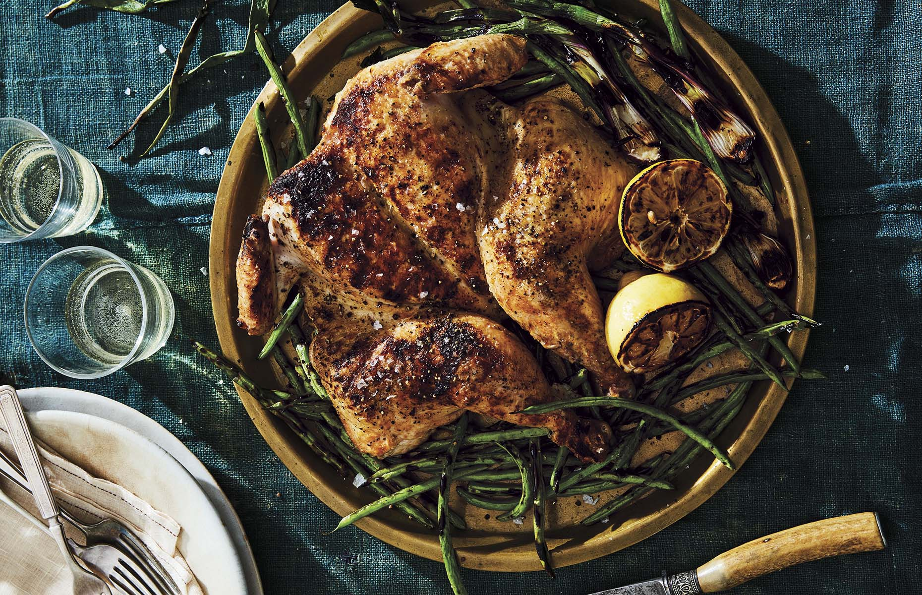 Spatchcocked chicken with green beans (Image: Food52 Any Night Grilling/Ten Speed Press)