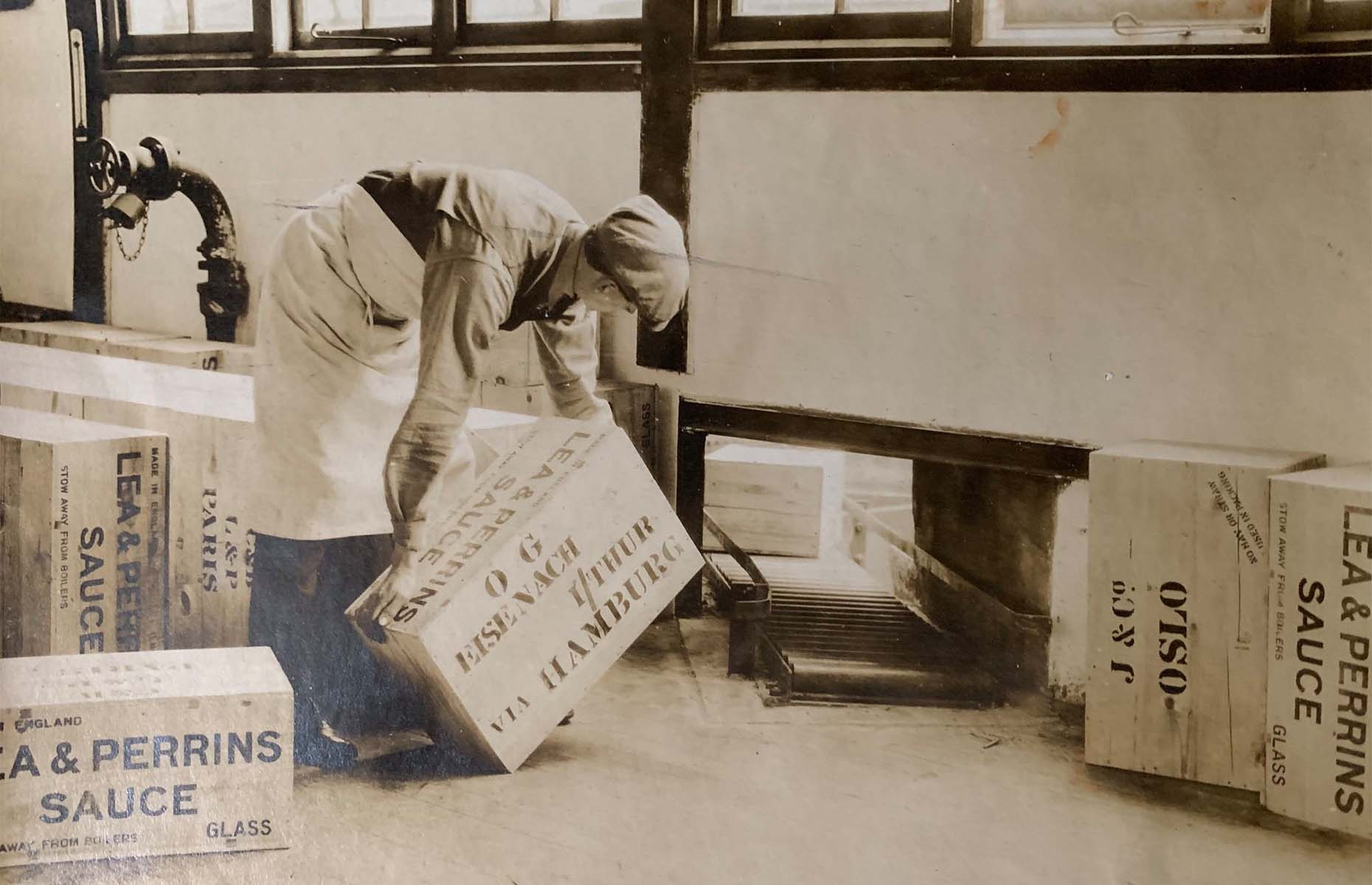 Worcestershire sauce prepared to be shipped abroad (Image: Lea and Perrins/Facebook)