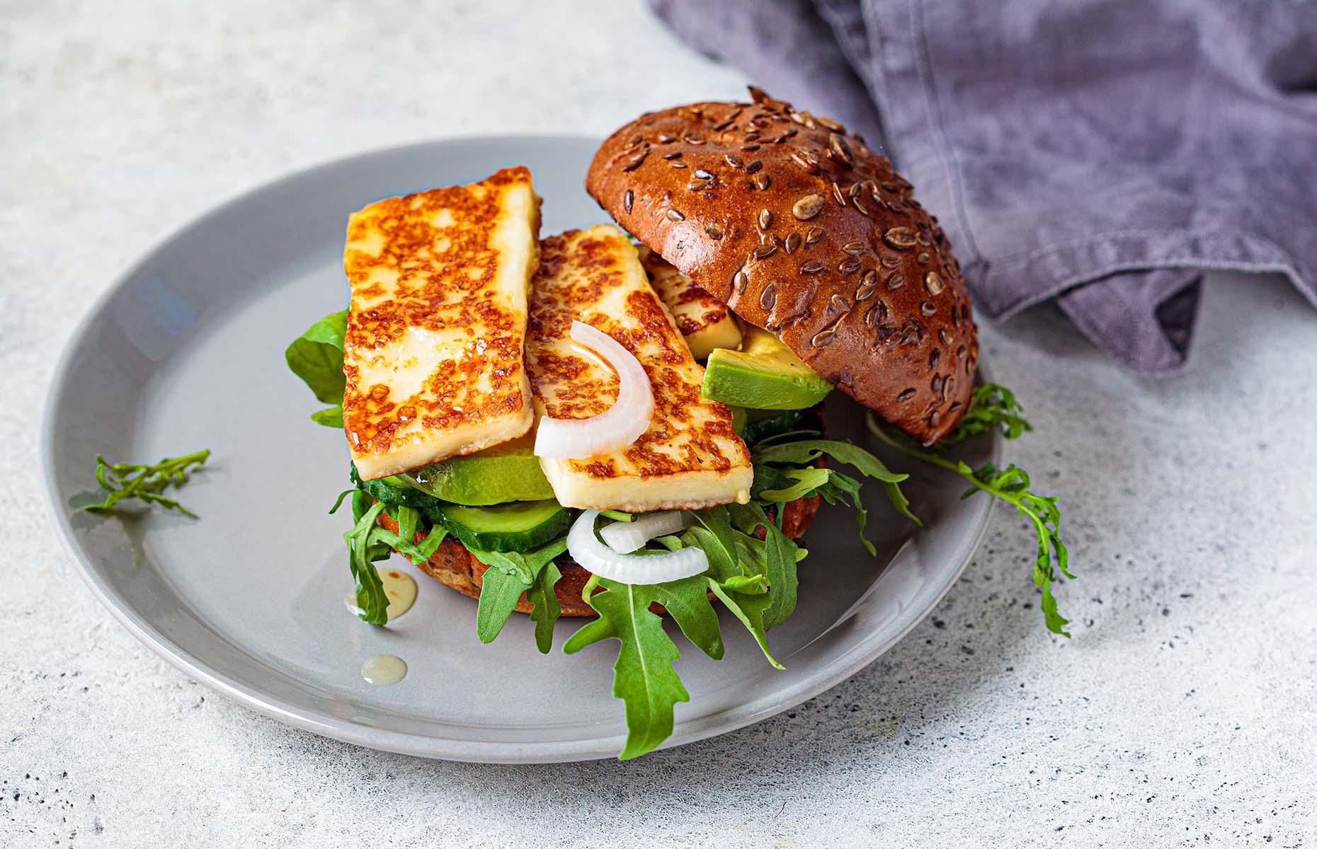 Halloumi in a veggie burger (Image: Nina Fisova/Shutterstock)