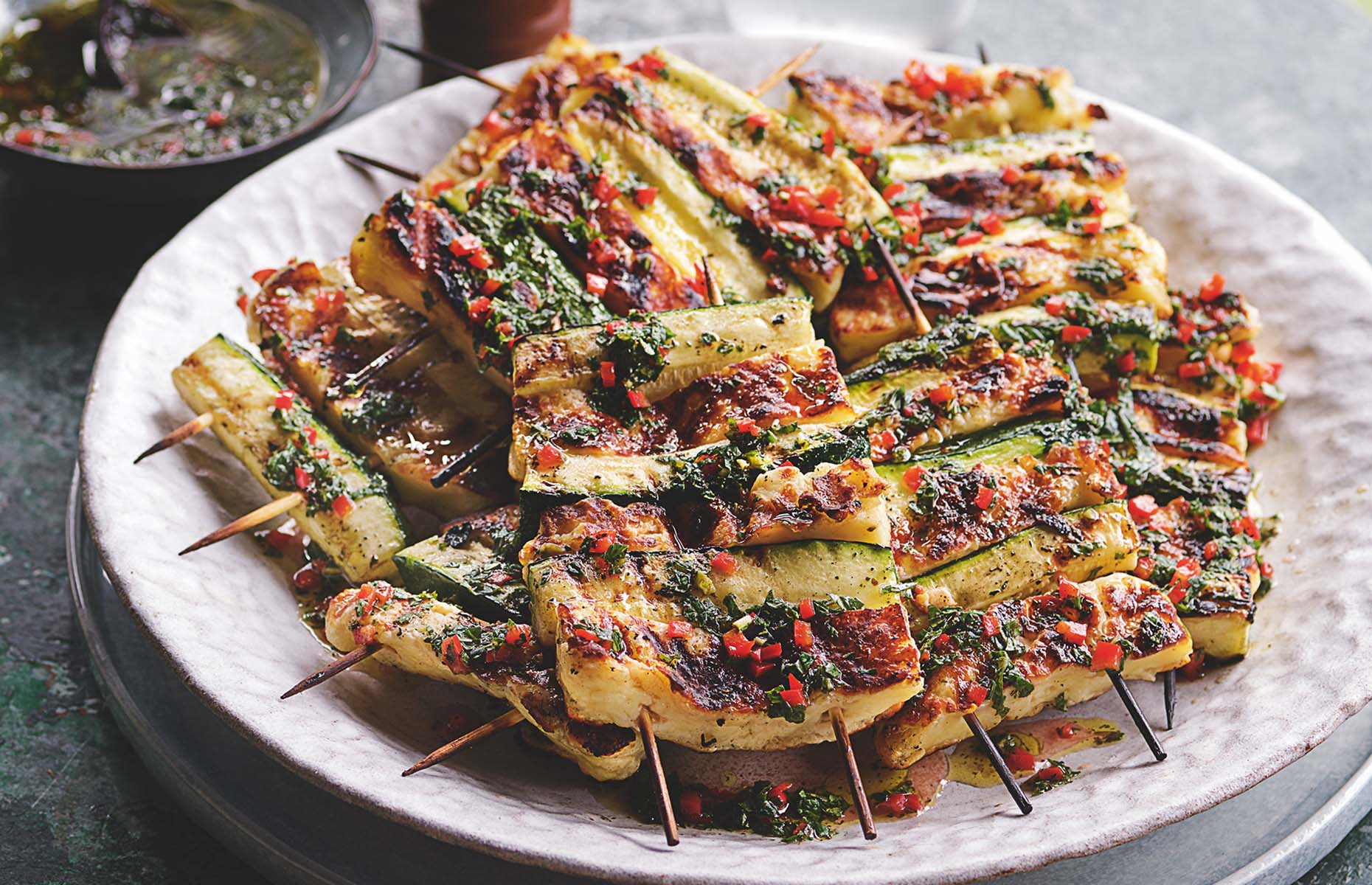 Halloumi skewers with courgette (Image: Tom Kerridge's Outdoor Cooking/Bloomsbury Absolute)