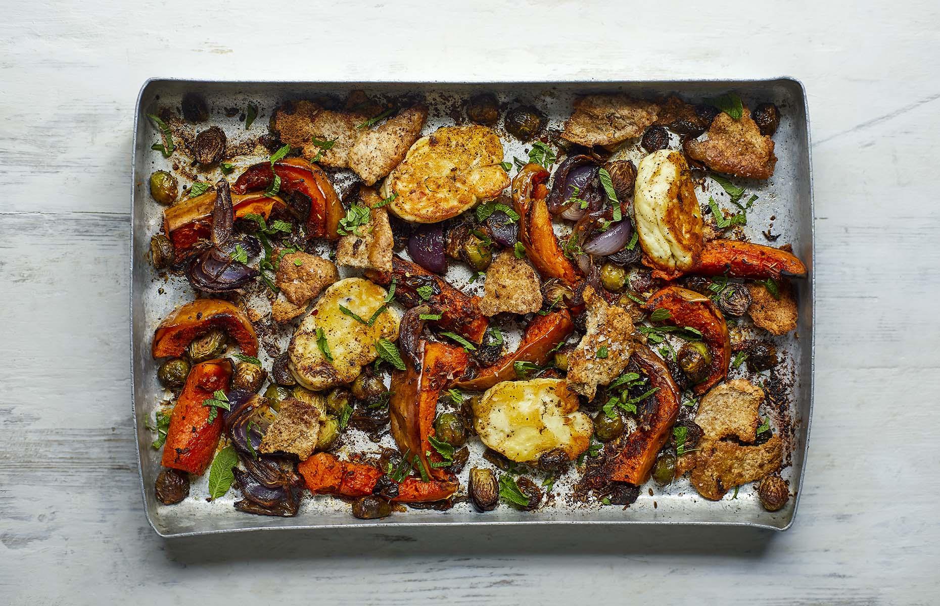 Halloumi vegetable traybake (Image: Doctor's Kitchen 3-2-1/HarperNonFiction)