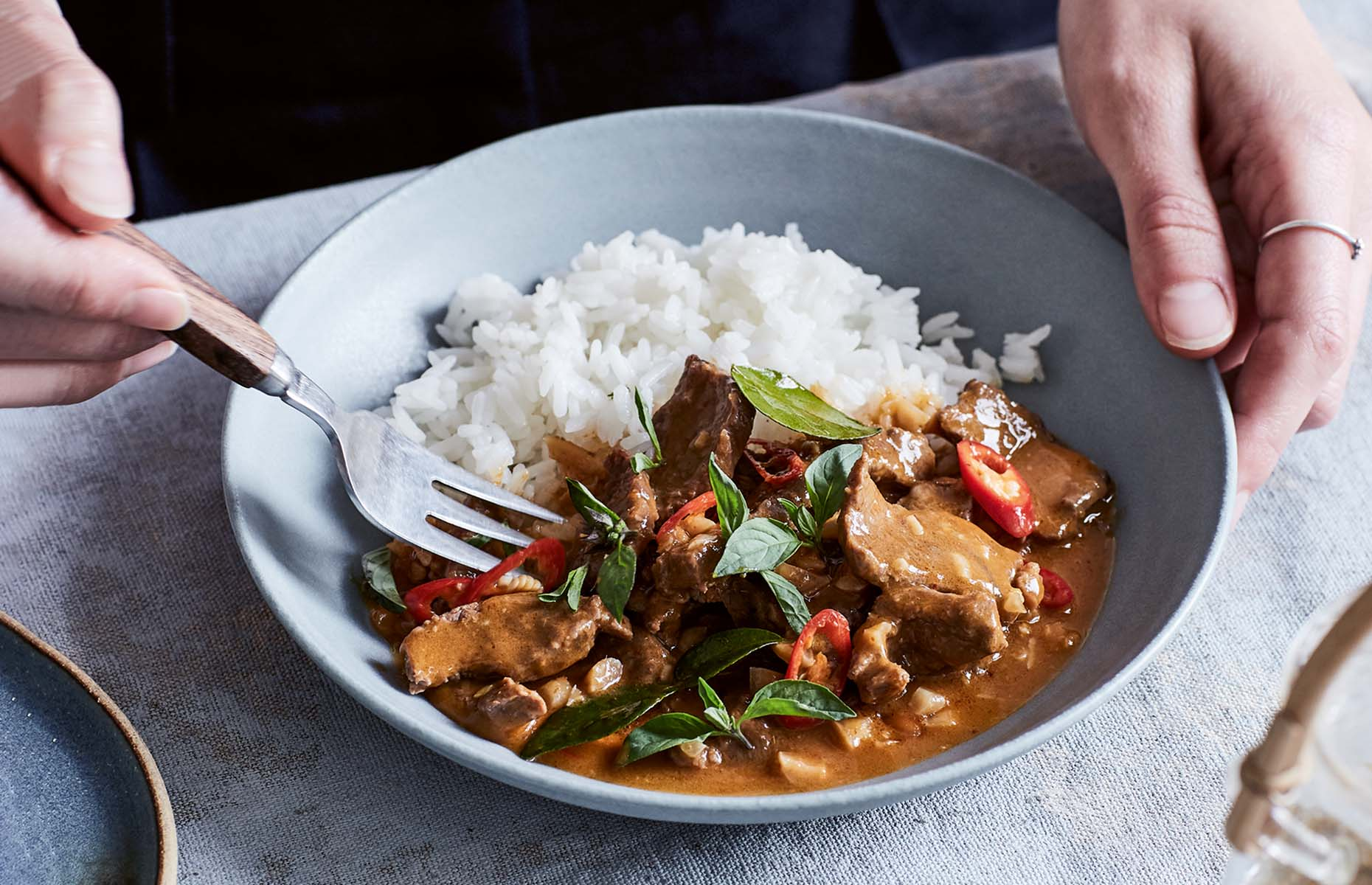 Thai beef curry with peanut sauce (Image: One Pot Feeds All/Kyle Books)