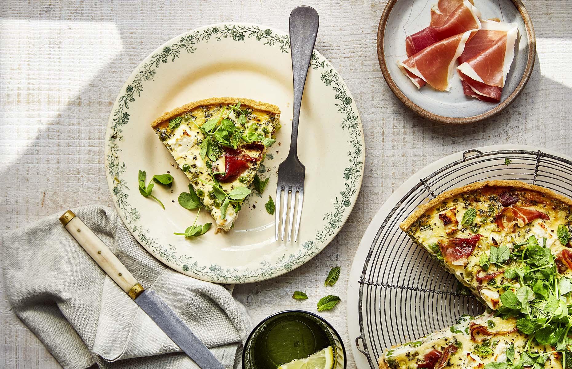 Pea, Parma Ham and feta quiche (Image: Prosciutto di Parma/Tim Atkins)