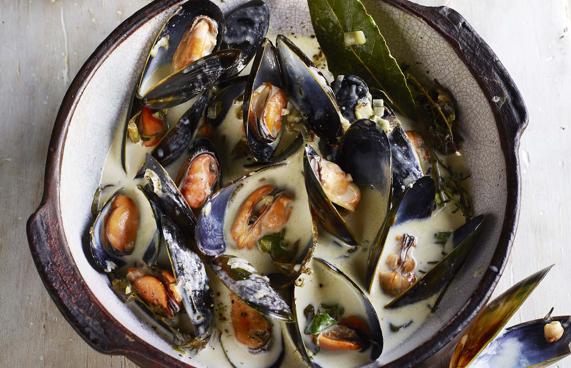 Cornish mussels with cider (Image: Rick Stein at Home/James Murphy)