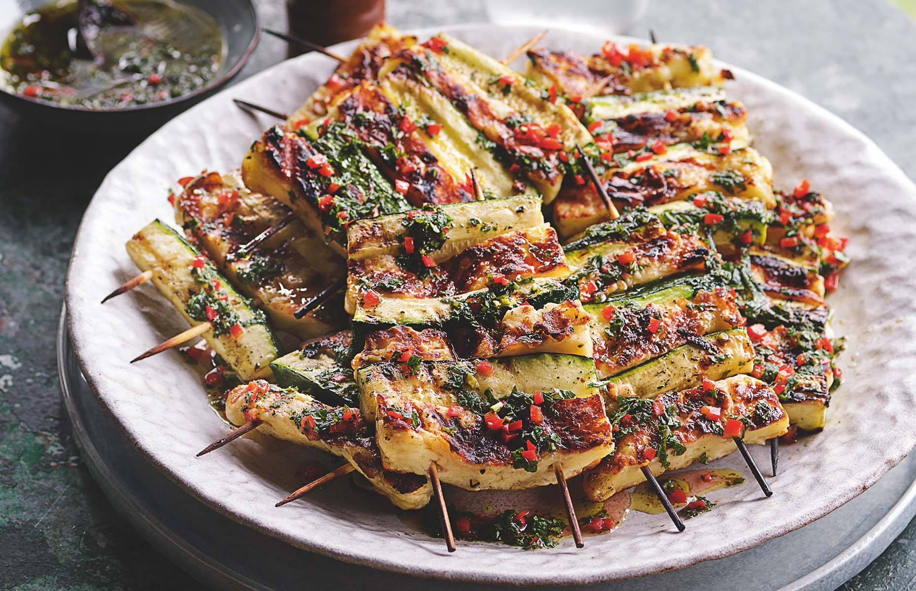 Courgette and halloumi skewers from Tom Kerridge's Outdoor Cooking (Photography by Christian Barnett)