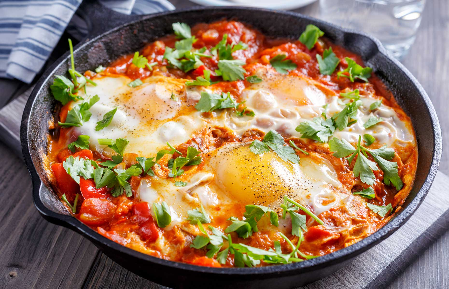 Shakshuka is a typical breakfast cooked on the stove