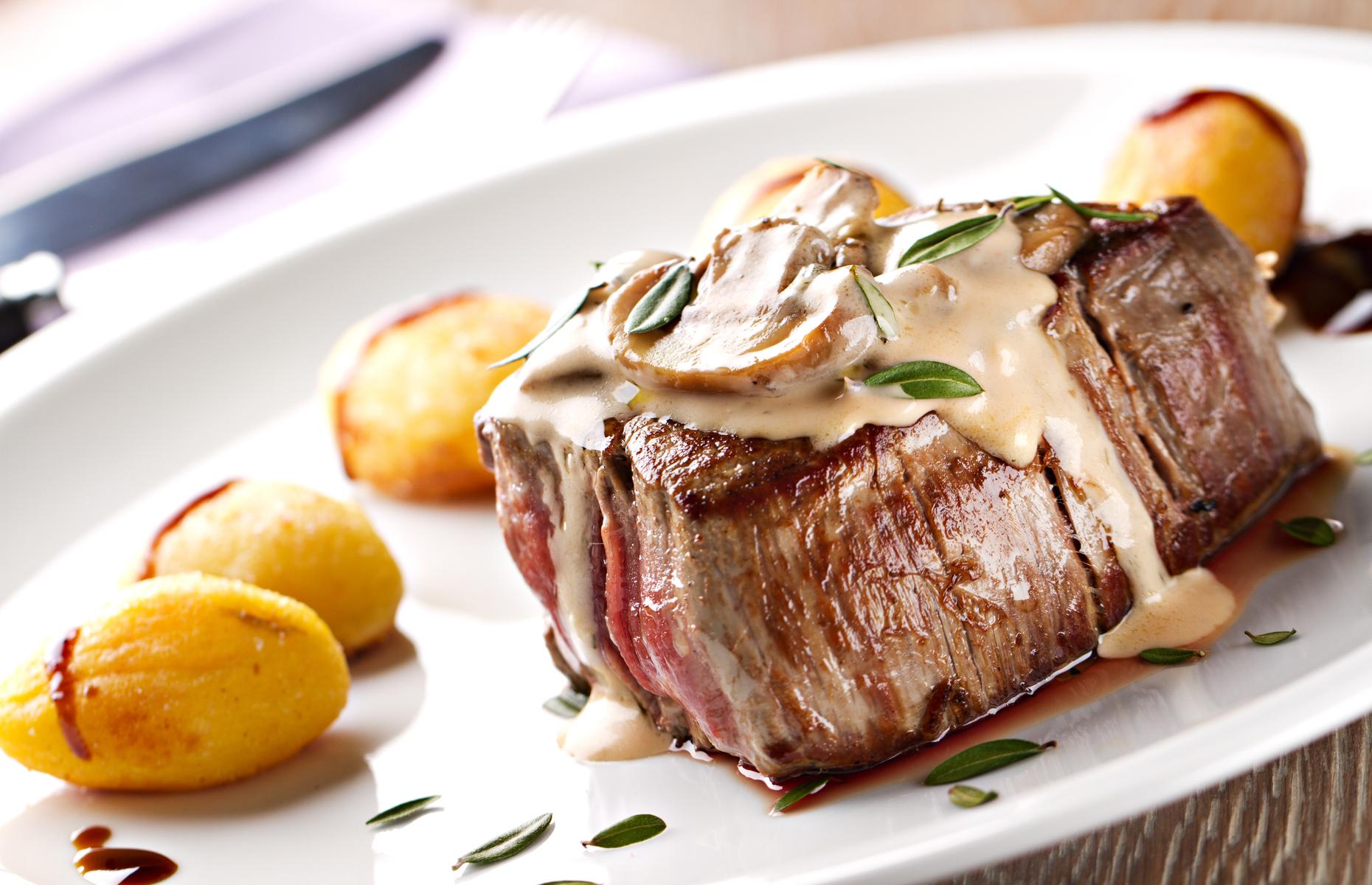beef fillet with mushroom puree