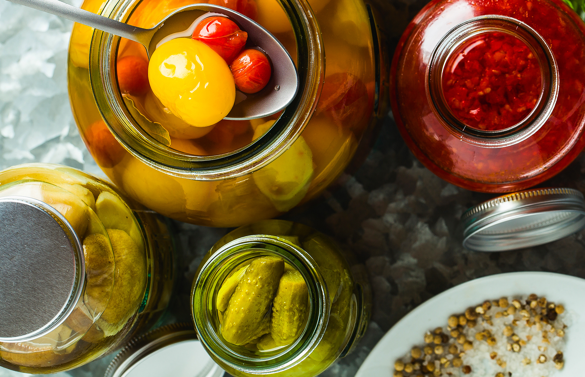Jars of different pickles