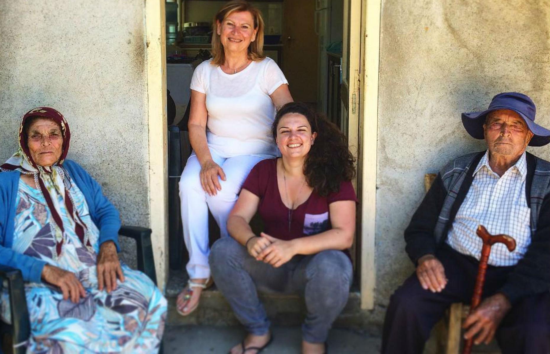 Selin Kiazim with her grandparents in Cyprus