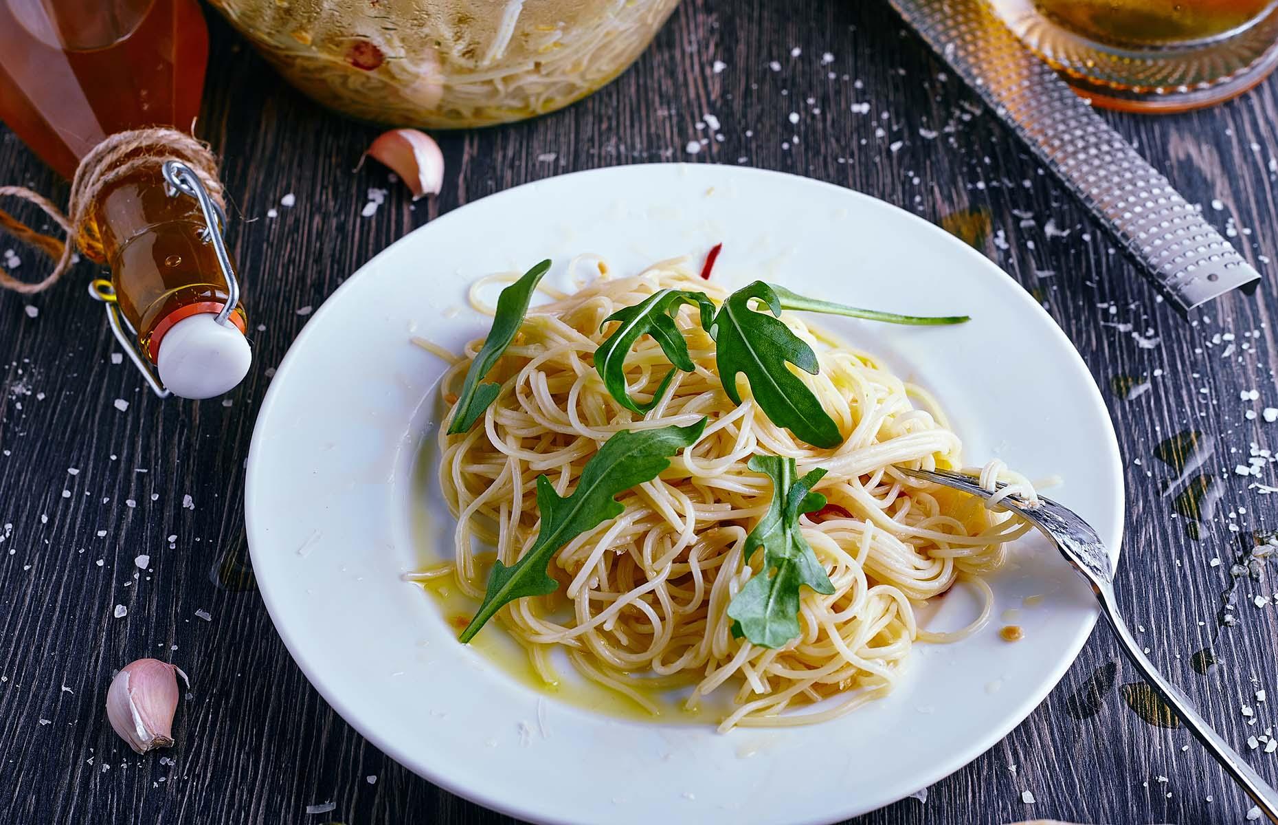 Chilli oil on pasta