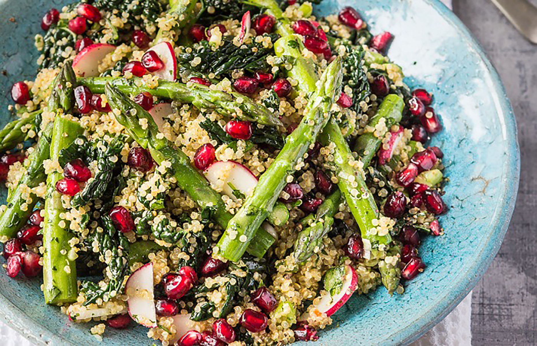 Quinoa, kale, pomegranate and asparagus salad (Image: British Asparagus/loveFOOD)