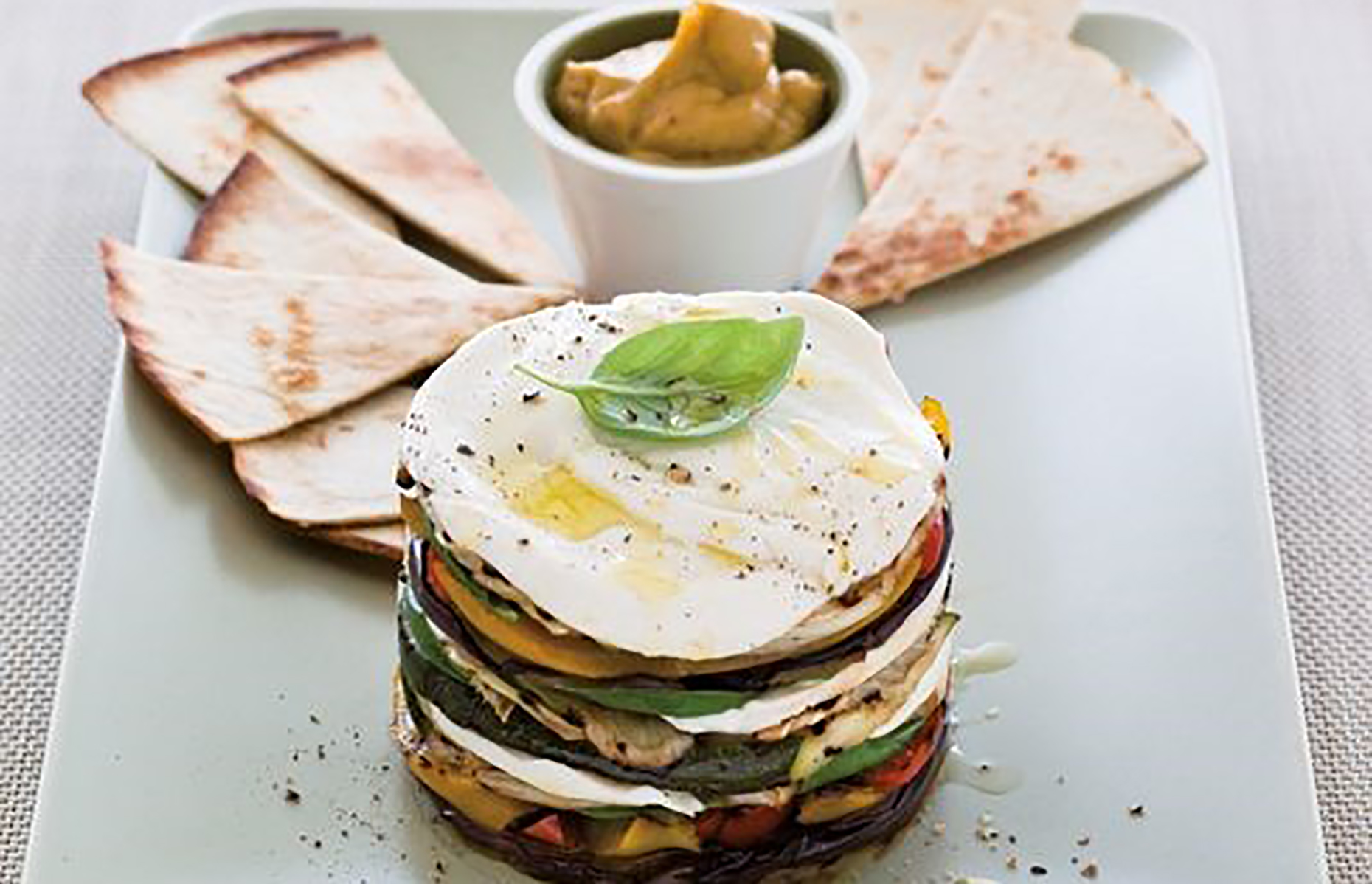 A stack of grilled vegetables and mozzarella (Image: Nicola Graimes/loveFOOD)