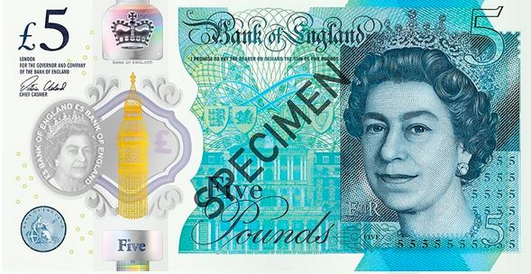 Polymer £5 banknote (Image: Bank of England)