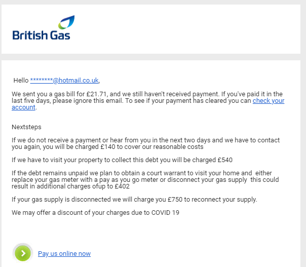 British Gas Unpaid Bill Email Scam How To Stay Safe
