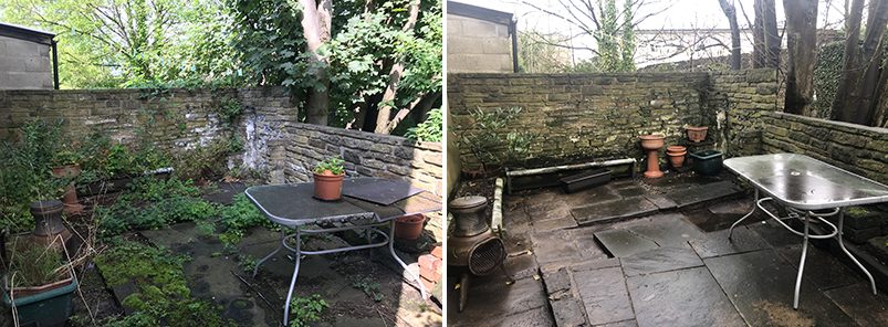 Hannah Cox's garden before and after images. (Image: Hannah Cox)