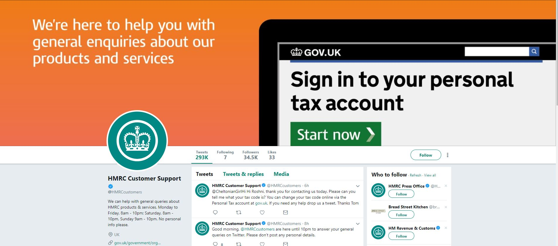 HMRC Customer Support Twitter page