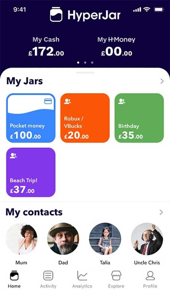 HyperJar app for kids. (Image: HyperJar)