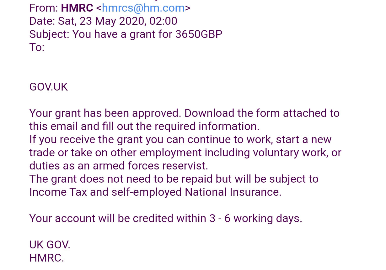 Hmrc Fake Grant Scam Tax Mail Claims Self Employment Grant Has Been Approved