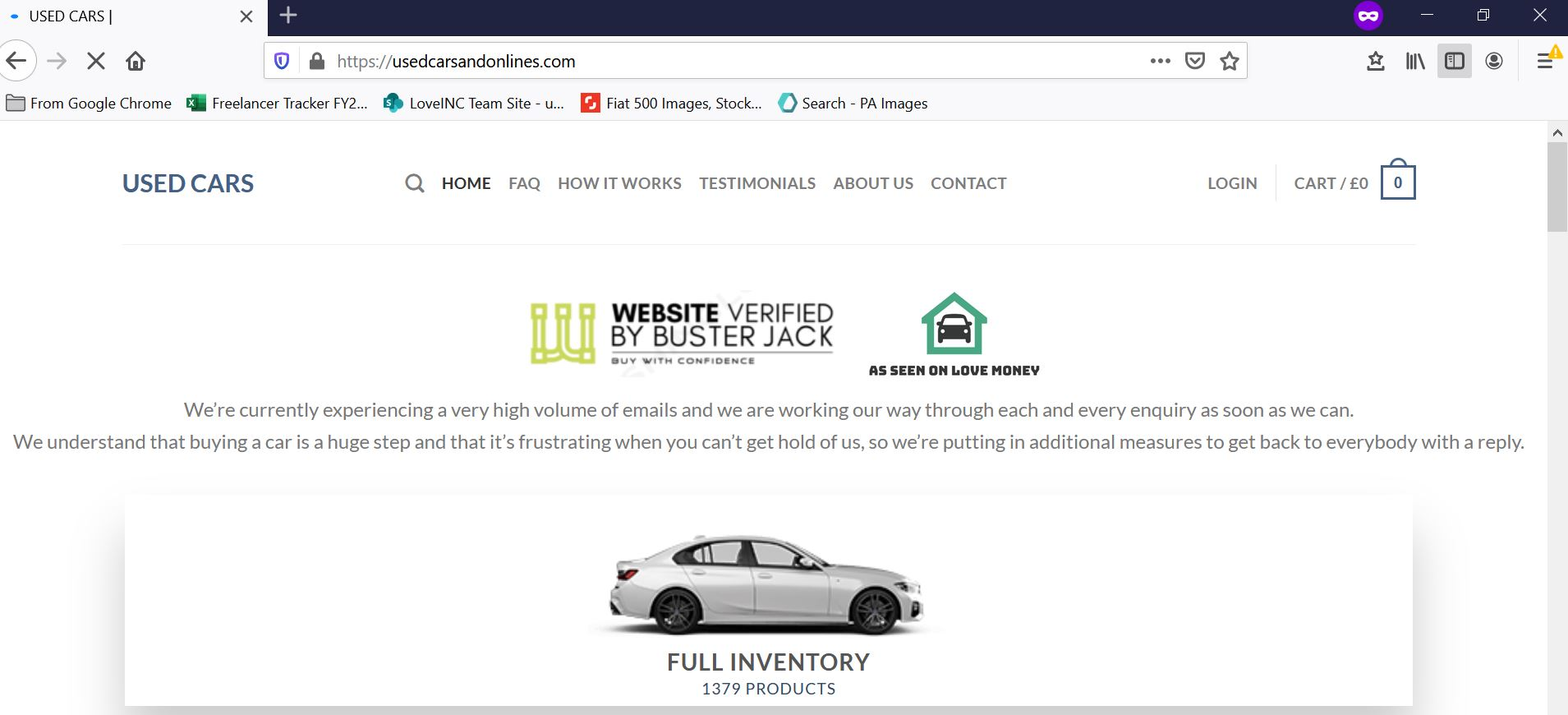 Used cars scam website falsely mentioning loveMONEY endorsement (Image: loveMONEY)