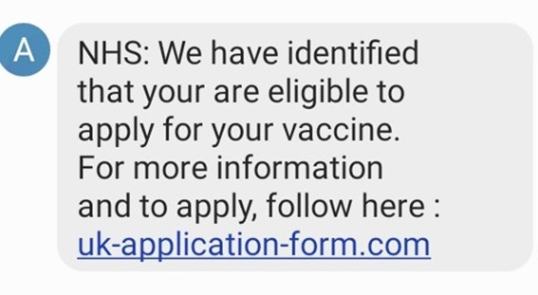 Fake NHS COVID-19 vaccine text message. (Image: CTSI)