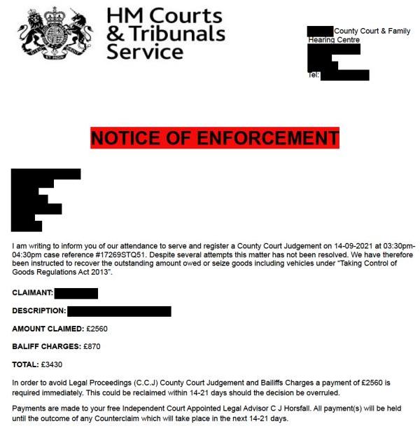 Bailiff scam email. (Image: GOV.UK)