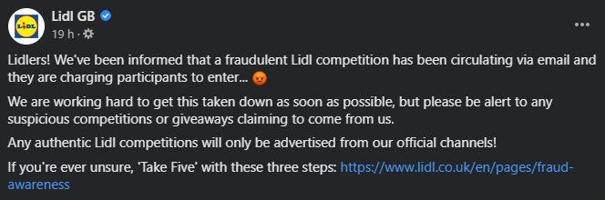 Lidl warning about a scam. (Image: Lidl/Facebook)