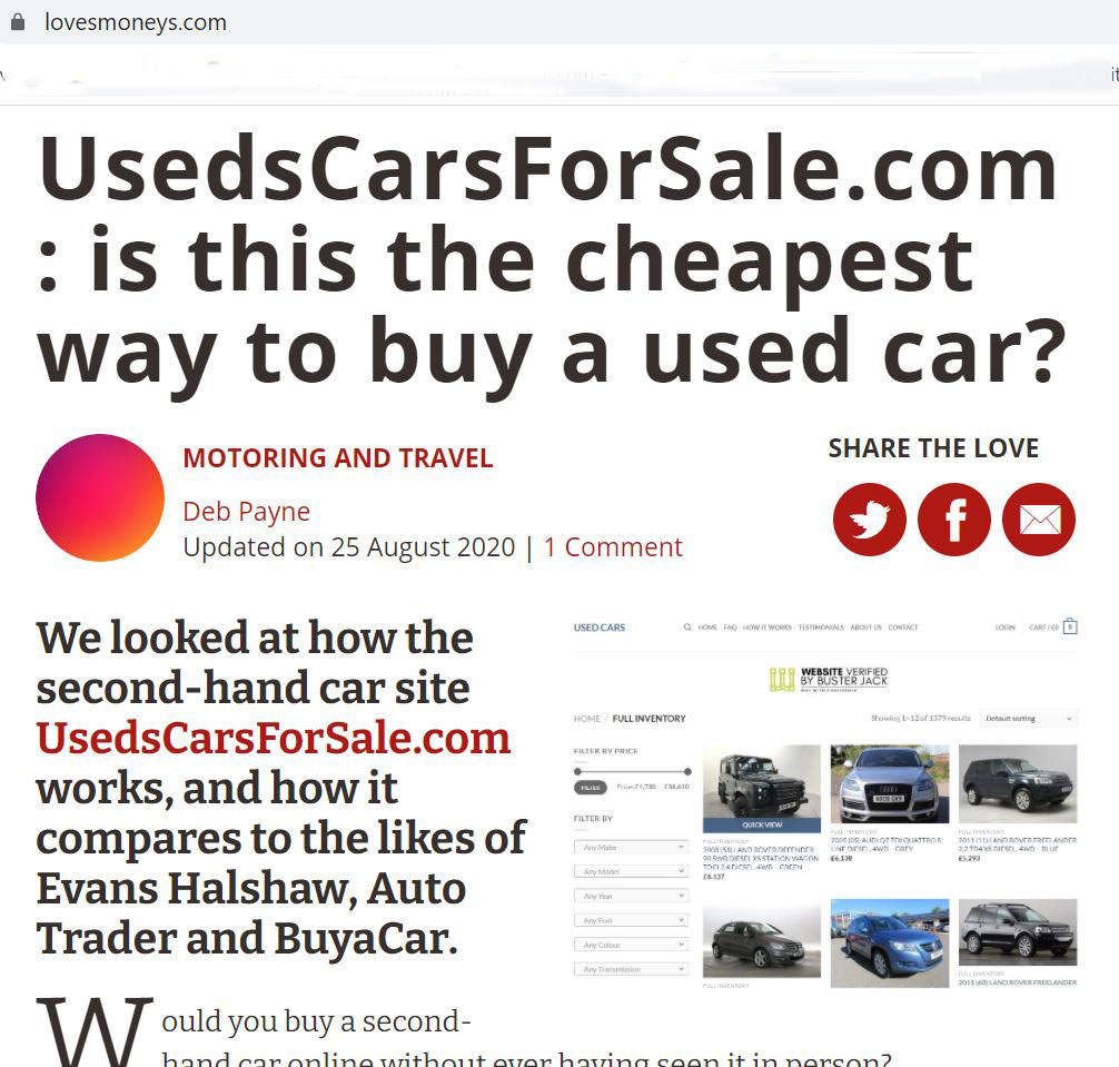 A fake loveMONEY article about used cars (Image: loveMONEY)