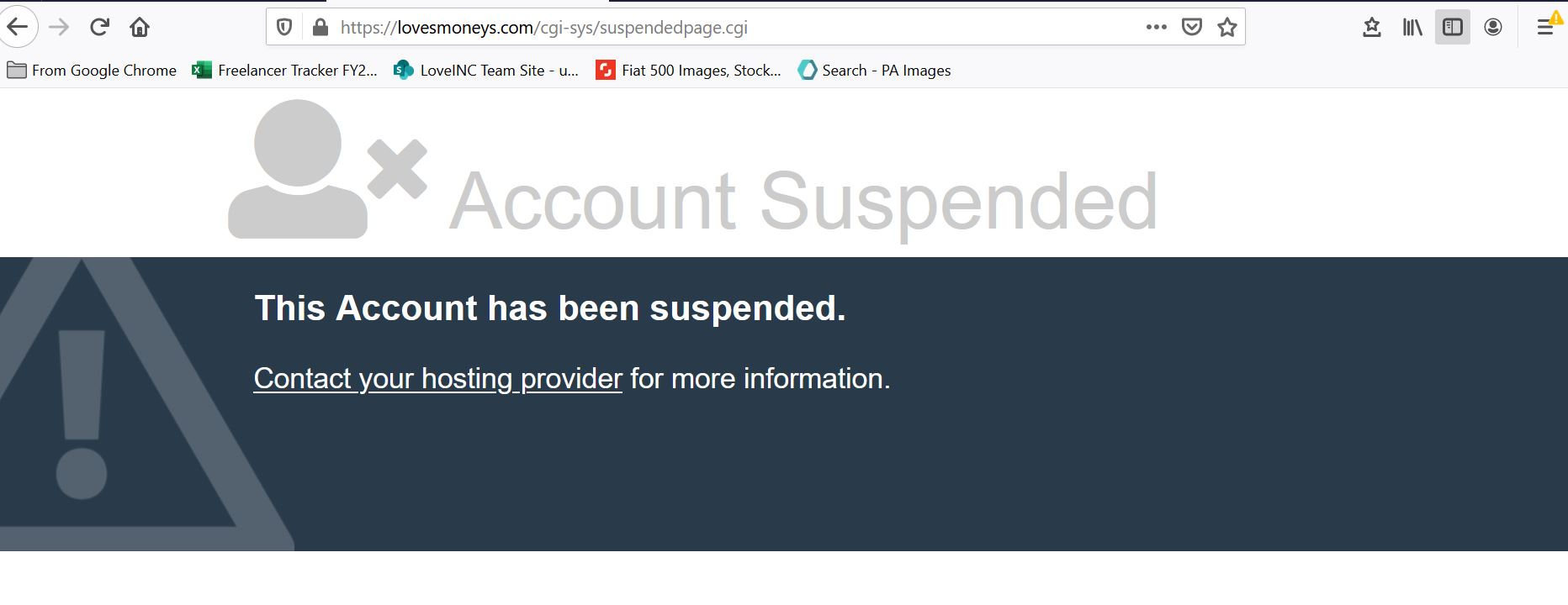 Suspended scam website (Image: loveMONEY)