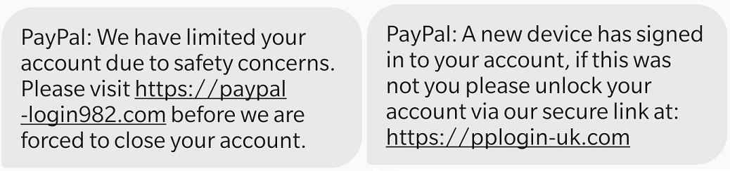Examples of PayPal scam texts. (Image: loveMONEY)
