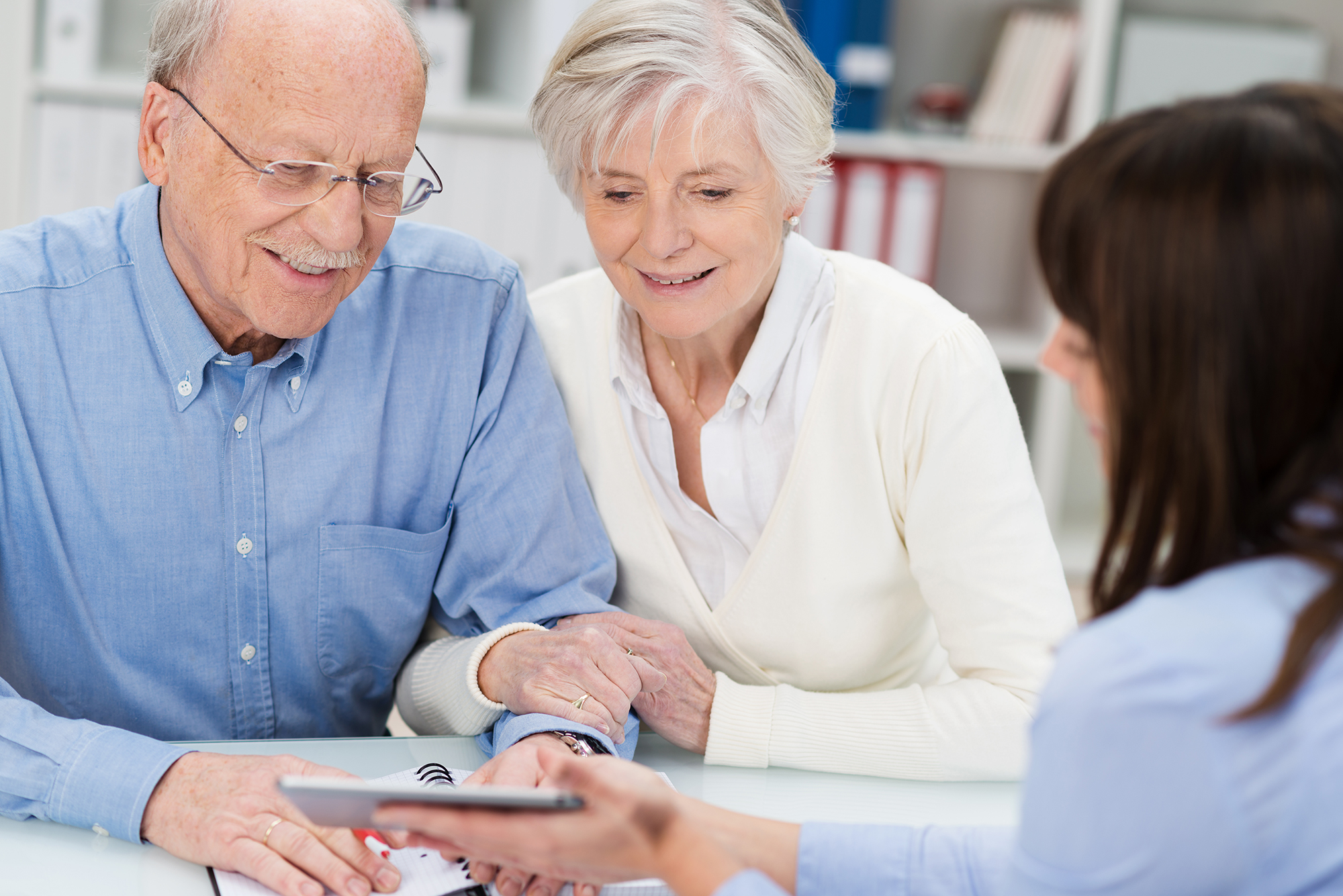 Couple getting advice on their pension. (Image: Shutterstock)