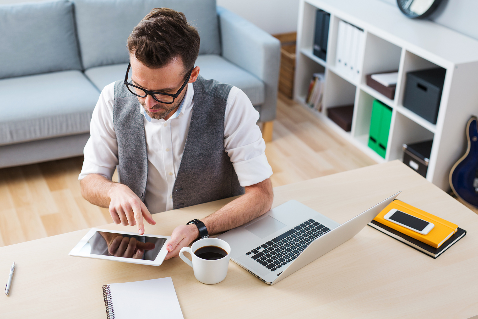 Self-employed man working from home. (Image: Shutterstock)