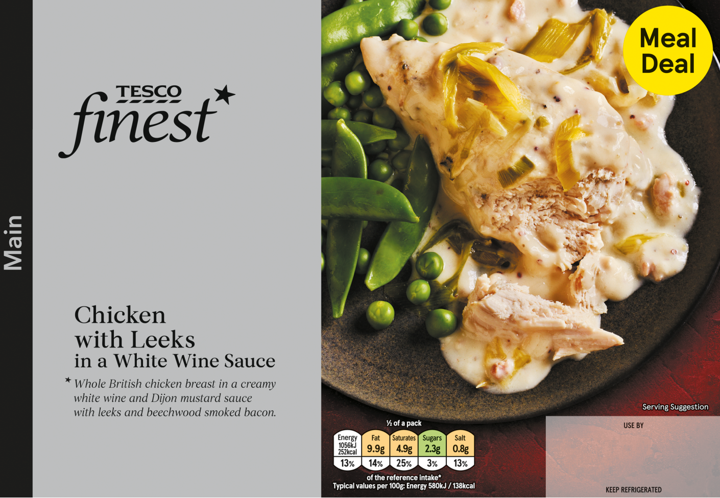 Chicken in white wine sauce with leeks. (Image: Tesco)
