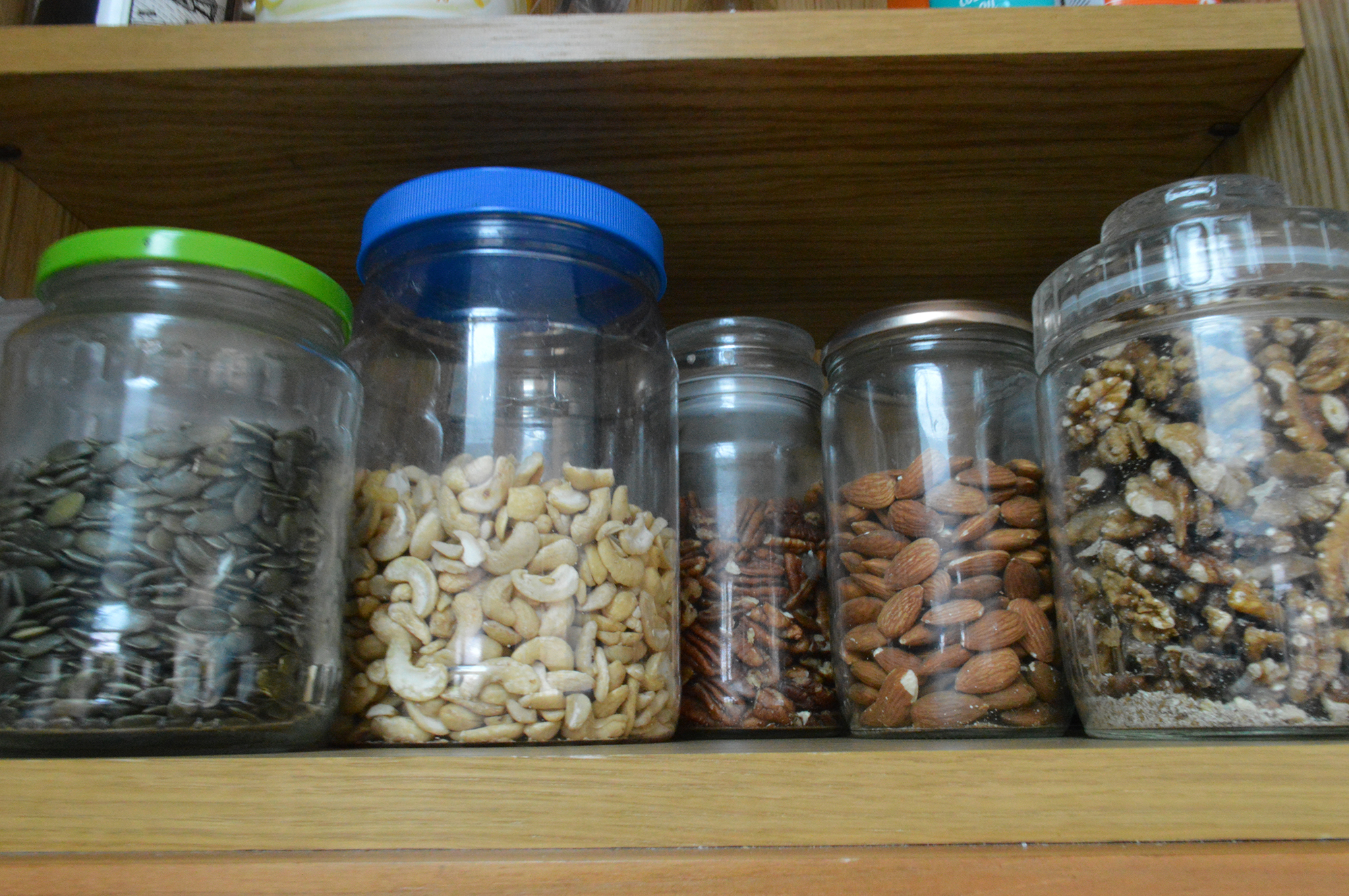 Various nuts in containers. (Image: Lily Canter)