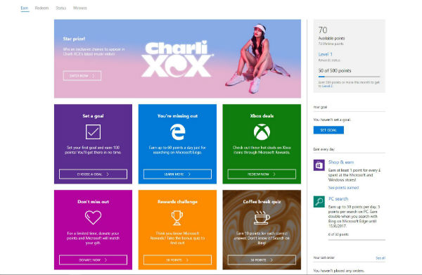 Microsoft Rewards: get points for Bing searches and shopping at