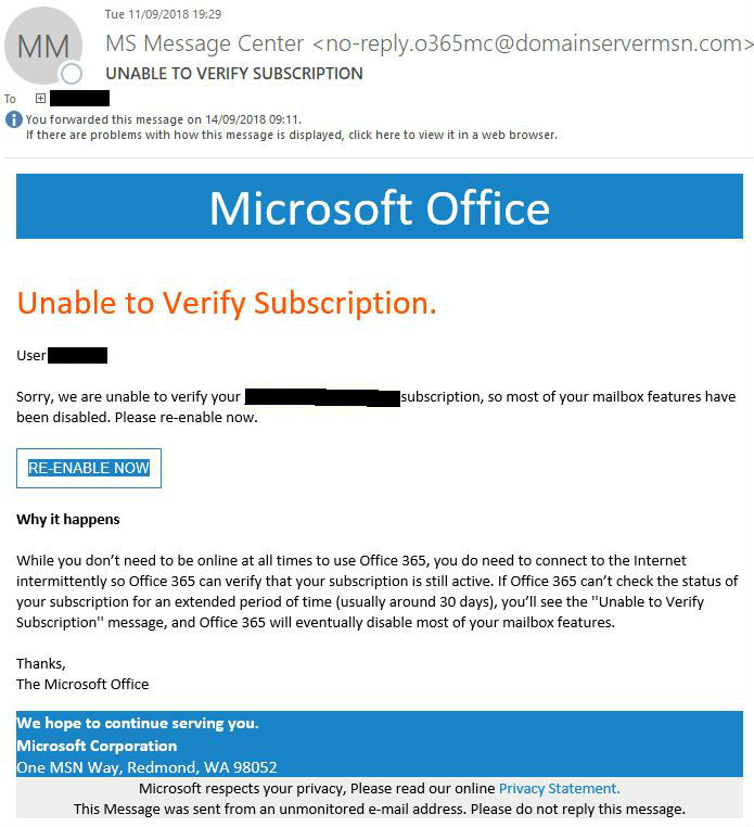 Microsoft Office 'Unable to Verify Subscription' email scam