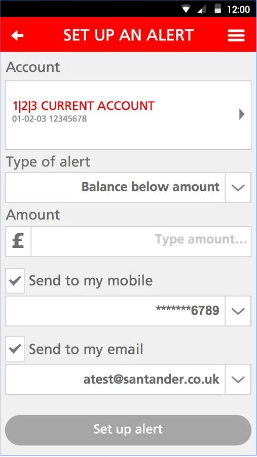 Santander Mobile Banking Alert Set Up