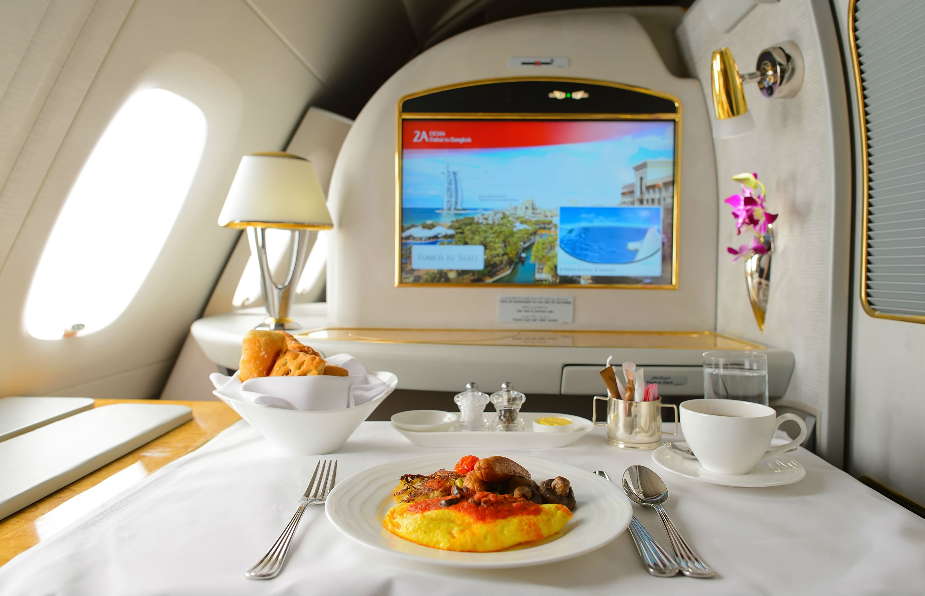 A first class cabin on Emirates Airlines (image: Shutterstock)