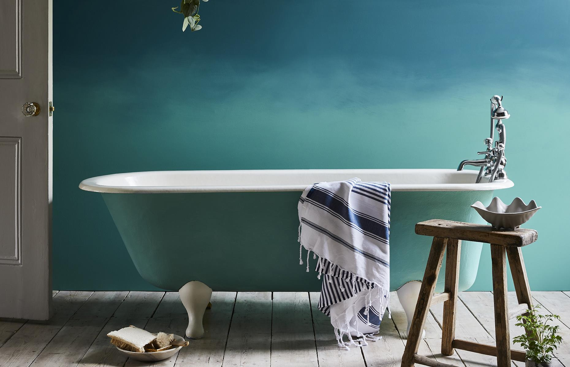 Entice buyers with soft, relaxing blues in your bathroom. Image: Annie Sloan