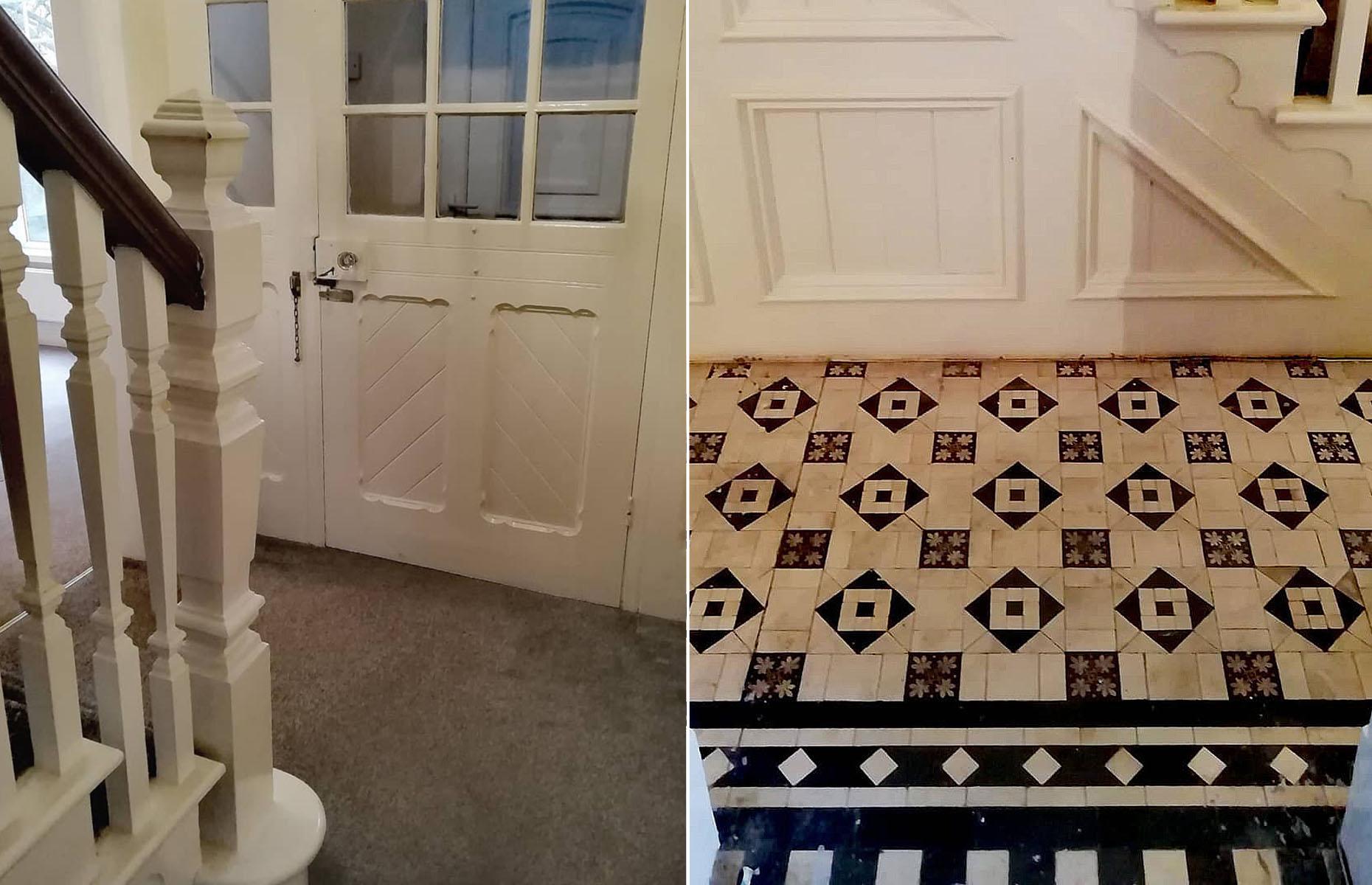Original monochrome tiles were uncovered beneath the carpet in this hallway. Image: @renovating_brynteg / Instagram