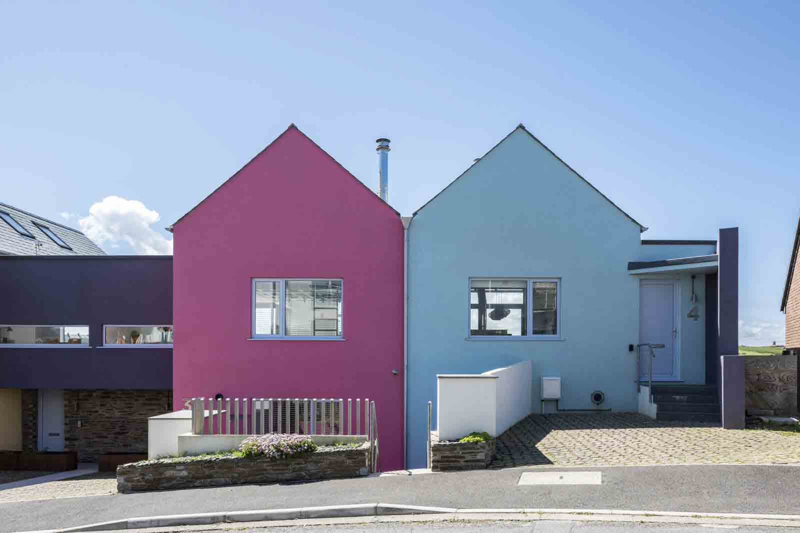 Bold primary colours define this distinctive row in Bude. Image: The Modern House