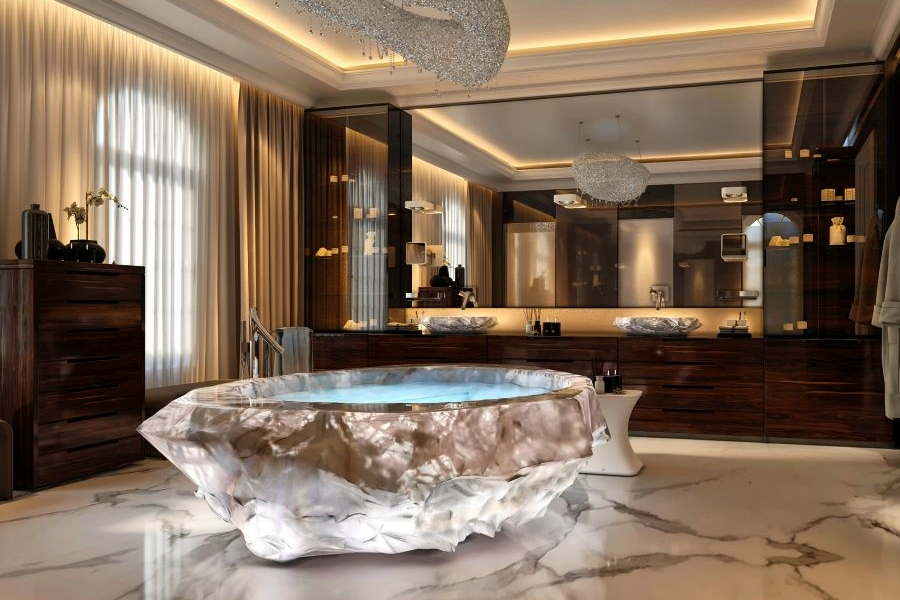 The Rock Crystal bath in one of the exclusive XXII Carat villas in Dubai. Image: Forum Group