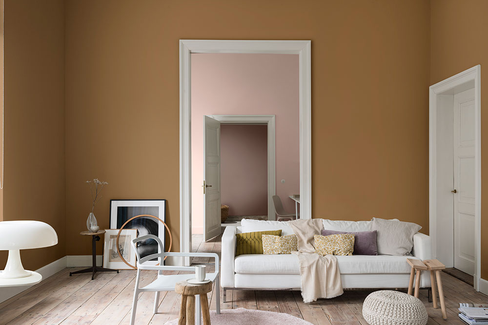 Dulux Colour of the Year - Spiced Honey living room palette