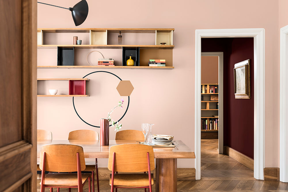 Pale pink and Spiced Honey warm tan walls