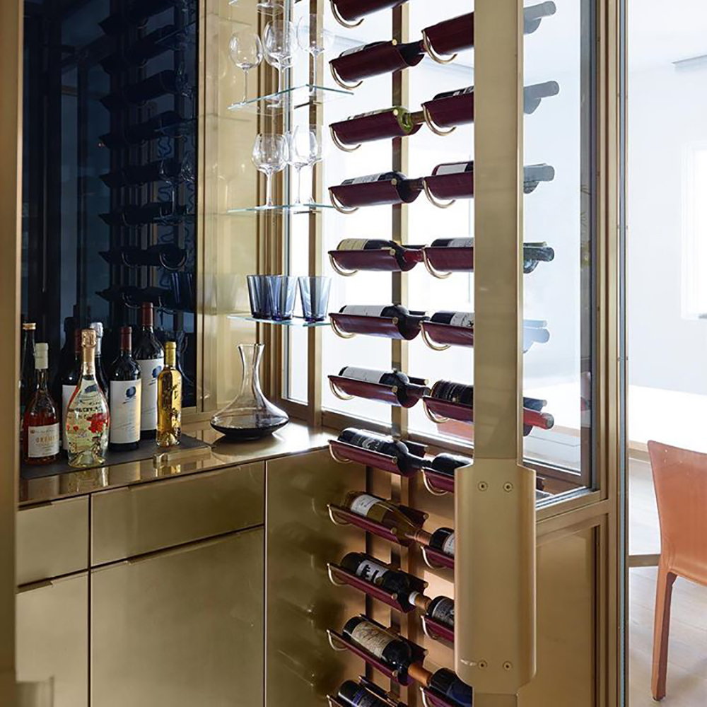Brass wine storage room. Image: Amuneal
