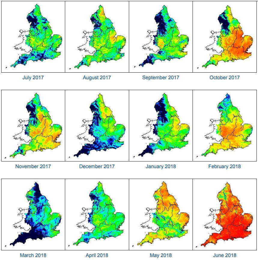 Rainfall map of England - Compare the rainfall in July 2017 to June 2018 to see how dry this summer has been
